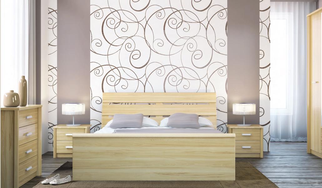 Обои и мебель дизайн спальни